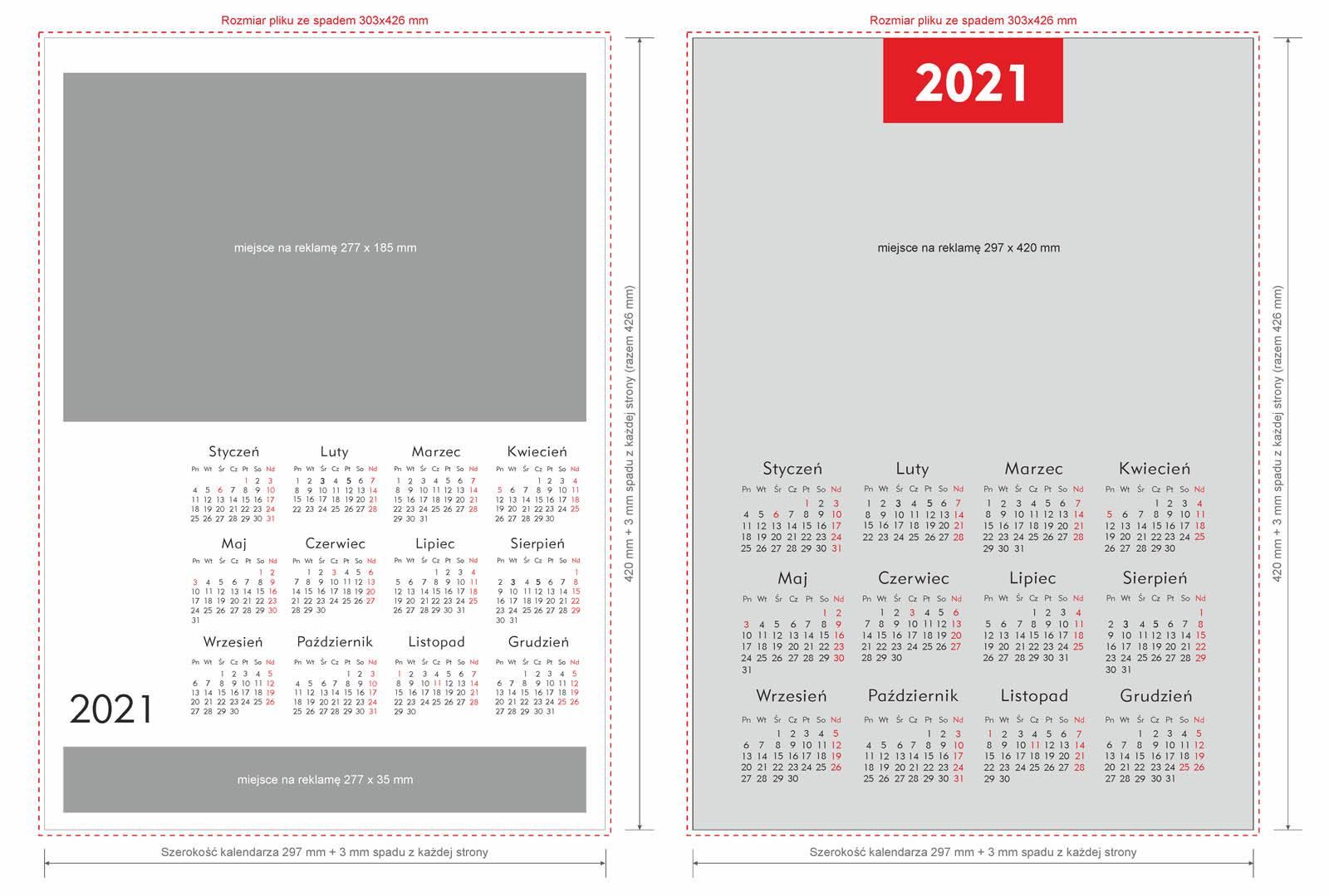Szablon kalendarz jednoplanszowy