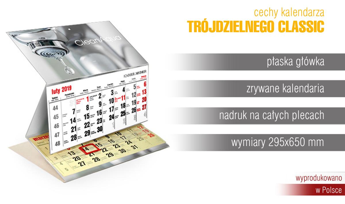 Kalendarz trójdzielny z płaską główką classic extrema